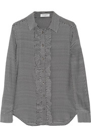 Equipment Blake houndstooth washed-silk shirt