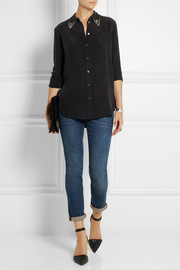 Equipment Reese crystal-embellished washed-silk shirt