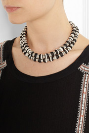Missoni + V&A double-strand palladium-plated woven necklace