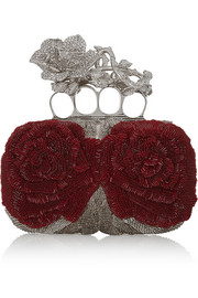 Alexander McQueen Knuckle bead and Swarovski crystal-embellished canvas box clutch