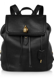 Alexander McQueen Padlock skull-embellished textured-leather backpack