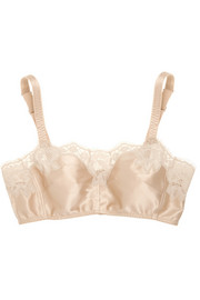 Lace-trimmed stretch-silk satin soft-cup bra