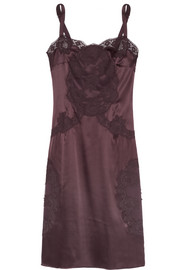 Dolce & Gabbana Lace-trimmed stretch silk-blend chemise