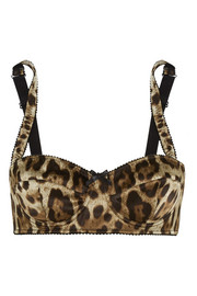 Leopard-print stretch-silk satin balconette bra