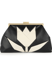 Two-tone faux leather clutch