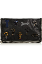 Stella McCartney The Falabella embellished faux brushed-leather clutch