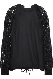 Chloé Guipure lace-paneled stretch-wool sweater