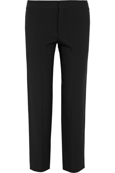 Cropped Eyelet Straight-Leg Pants, Black, White