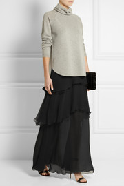 Chloé Tiered silk-mousseline maxi skirt