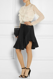 Chloé Ruffled silk-blend cloqué mini skirt