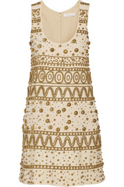 Chloé Embellished silk-blend crepe mini dress