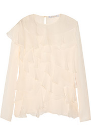 Chloé Ruffled silk-mousseliné blouse