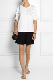 Chloé Guipure lace-appliquéd cotton T-shirt