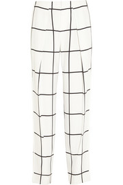 Chloé Checked crepe straight-leg pants