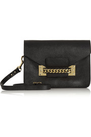 Envelope chain-trimmed textured-leather shoulder bag