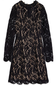Lanvin Embellished flocked lace dress
