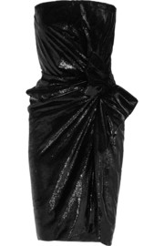 Strapless metallic velvet dress