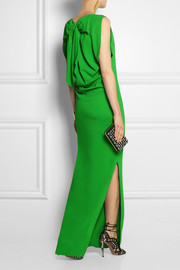 Lanvin Bow-embellished stretch-crepe gown
