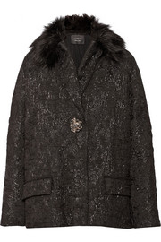 Lanvin Faux fur-trimmed metallic wool-brocade coat