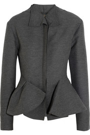 Lanvin Wool-blend grosgrain peplum jacket