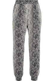 Lanvin Snake-print washed-silk tapered pants