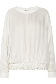 Lanvin Cotton-trimmed silk-organza top