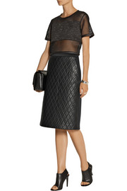 Neil Barrett Quilted leather and scuba-jersey skirt
