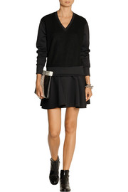 Neil Barrett Tech-jersey and boiled wool mini dress