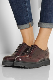 Indigo brogue-detailed polished-leather creepers