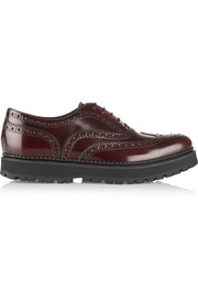 Church's Indigo brogue-detailed polished-leather creepers