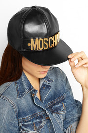 Moschino Embellished leather cap