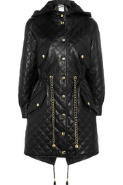 Moschino Hooded quilted leather parka