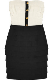 Moschino Tiered cotton-blend faille mini dress