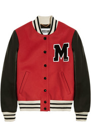 Moschino Leather-paneled wool-blend bomber jacket