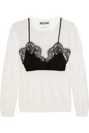 Moschino Silk-appliquéd wool sweater