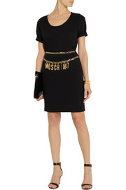 Moschino Chain-trimmed crepe mini skirt