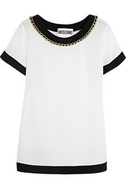 Moschino Chain-trimmed silk-crepe top