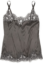 Dolce & Gabbana Lace-trimmed stretch-silk satin camisole