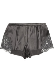 Lace-trimmed stretch-silk satin shorts