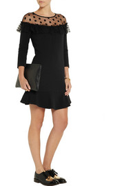 Paul & Joe Mombazon crepe and polka-dot tulle mini dress