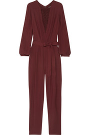 Randy lace-trimmed crepe jumpsuit