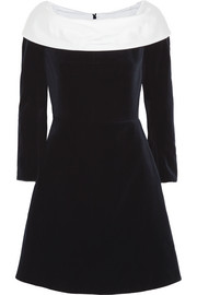 Carven Silk twill-trimmed velvet mini dress