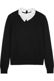 Carven Contrast-collar knitted sweater