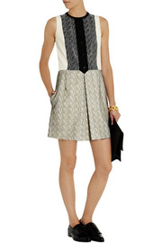 Carven Pleated crepe and lace mini dress