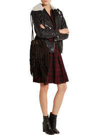 Étoile Isabel Marant Benny shearling-trimmed leather biker jacket