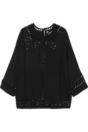 Étoile Isabel Marant Ethan cutout embroidered georgette top