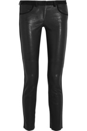 Isabel Marant Dana suede-trimmed stretch-leather skinny pants