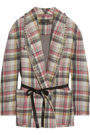 Isabel Marant Milroy embellished plaid linen and wool-blend coat