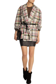 Milroy embellished plaid linen and wool-blend coat