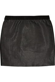 Diamon suede-trimmed stretch-leather mini skirt
